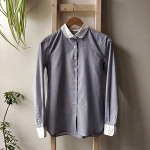 Muji Blue White Broadcloth Contrast Collar Blouse